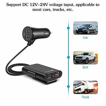 QC3.0 Araç Þarj 4 USB Portlu Ön Arka Koltuk Klip Yolcu Adaptörü