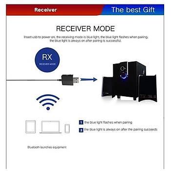 Bluetooth V5.0 Verici Alýcý Aux 3.5mm Hifi Stereo Ses Müzik Adaptörü A2DP AVRCP
