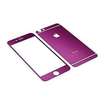 iPhone 6 6S Ýçin Ön/Arka Mirror Aynalý Ekran Koruyucu Tamperli Cam Mor Renk