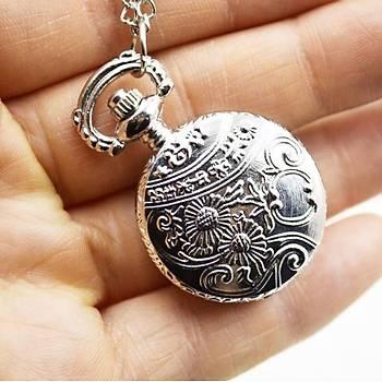 Kuvars Köstekli Mini Cep Saati Kolye Silver Kalebekler Desen