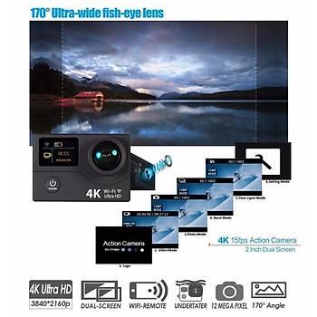 4K Ultra HD WiFi EKEN H3R Aksiyon Kamera+Çantalý