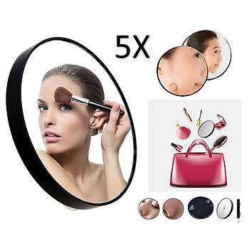 5X Dev Aynasý Çanta Ýçin Küçük Boyutlu Çift Vantuz Kolay Montaj Makyaj Ayna