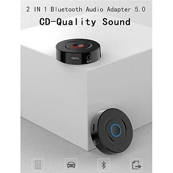 Bt 5.0 Stereo Ses Alýcý Verici Adaptörü A2DP AVRCP Aux Araba TV PC Hoparlör Kulaklýk