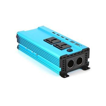 4000W Ýnvertör 24V to 220V  Gerilim Dönüþtürücü Trafo 4 USB Þarj Cihazý Araç Ev