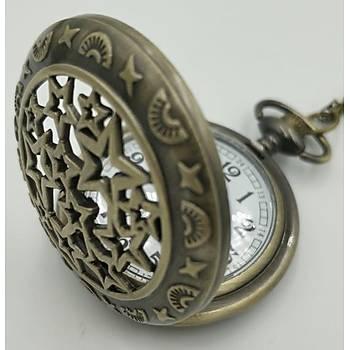 Klasik Kuvars Köstekli Cep Saati Bronz Antika Kolye Zincirli Yýldýz Yaðmuru Desenli