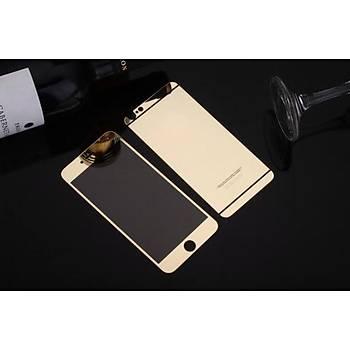 iPhone 6 Plus Ýçin Ön/Arka Mirror Aynalý Ekran Koruyucu Tamperli Cam Gold Renk