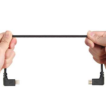DJI Mavic 2 Zoom için Mikro USB Kumanda Veri Aktarým Kablosu 29cm Örgülü Siyah