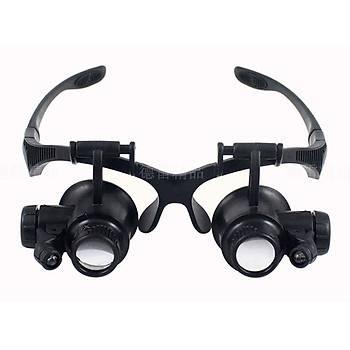 10X 15X 20X 25X 4 Lensli Tamirat Büyüteç Gözlük 2 LED Iþýklý Çift Göz Kafa Bandý