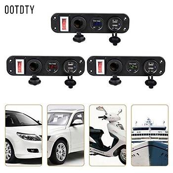 Araç Þarjý Çift USB Adaptör 12V Çakmak Soket Fiþ LED Voltmetre Anahtarlý
