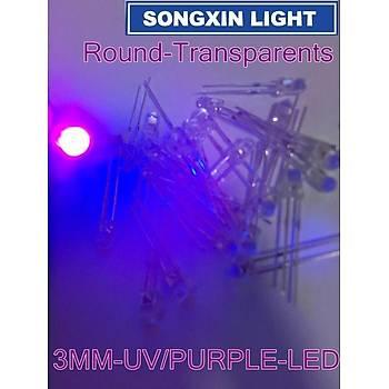 UV MOR 3mm LED DÝYOT LAMBA 390-410nm 10 adet