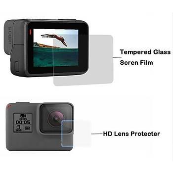 Hero 5 için 2 in 1 Ekran Koruyucu Film Ön Lens ve Arka Ekran Koruma