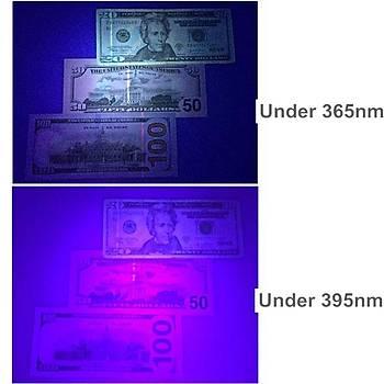 UV 365nm 7W Q5 Led Profesyonel Fener 18650 Pil ile Çalýþýr.