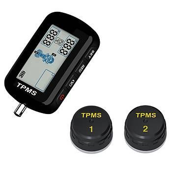 Motosiklet Lastik Basýncý Ýzleme Sistemi TPMS Su Geçirmez Kablosuz LCD Ekran