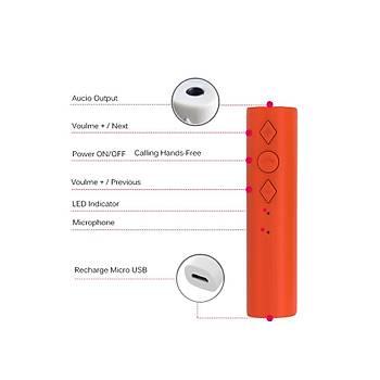 Araç Kiti Bluetooth 4.2  3.5mm Jack Aux Alýcý Adaptörü Eller Serbest Ses MP3 Müzik