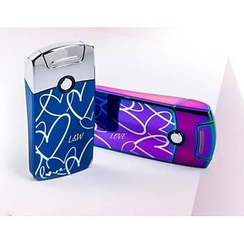 Darbeli Ark Plazma Rüzgar Cakmaðý Alevsiz USB Þarjlý Elektrikli Blue Heart