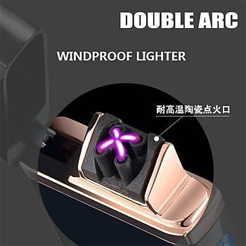 Plazma Çift Ark Elektronik Encencedor Cakmak Alevsiz USB Þarjlý Anti Rüzgar
