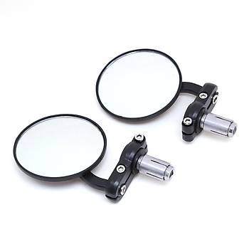 Motosiklet Yan Dikiz Ayna Set Alüminyum Siyah 22mm Gidon Bar Sonu