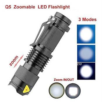 7W 2000lm Cree Q5 Zoom Ayarlý Led El Feneri