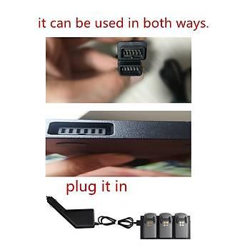 DJI Spark 4 lü Pil Araç Þarj Akýllý Pil Araç Þarj USB Portu Ýle
