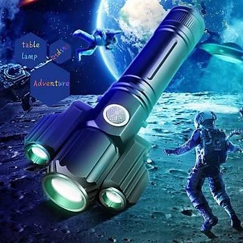 Üç-Kafa USB Þarj CREE LED El Feneri Alüminyum Taktik W8 E37
