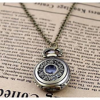 Kuvars Köstekli Cep Saati Silver Antika Kolye Antik Oyma Desenli