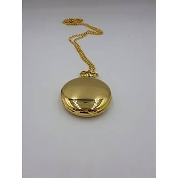 Köstekli Kuvars Analog Cep Saati Retro Klasik Steampunk Zincirli Amatit Silver Gold