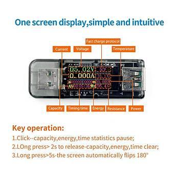 5A 30V USB Renkli Dijital Ekran Voltmetre Ampermetre Akým Ölçer