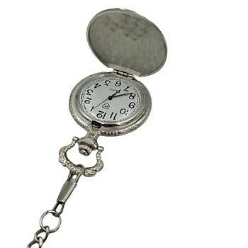 Klasik Köstekli Cep Saati Kemer Zincirli K?z Kulesi Gümü? Renk