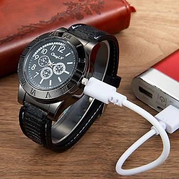 Tesla Alevsiz Saat Çakmak Elektronik USB Þarjlý Rüzgar Geçirmez Relogio Beyaz