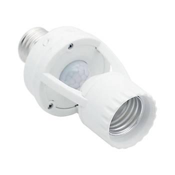 Hareket Sensörlü Ampul Duyu 360° Algýlama  IR Kýzýlötesi Ac 220V E27 Duy