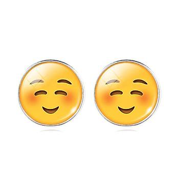 EMOJÝ Küpe Kabartma Cam Kaplamalý  Kalp Gözler Emoji