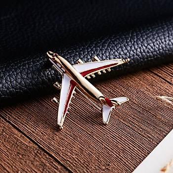Pilot Uçak Emaye Broþ Klip Gold Renk Metal Gövde Kýrmýzý Beyaz Kanat