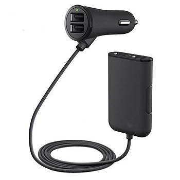38 w 4 Port USB Yolcu Araç Þarj + Uzanan USB HUB Ön/Arka Koltuk