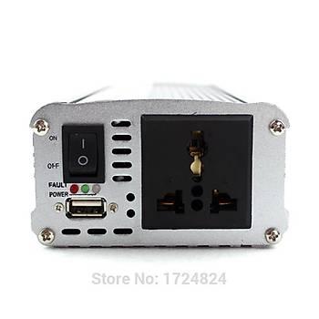 ÝNVERTER 500 Watt DC 24 V AC 220 V + USB Gerilim Trafosu