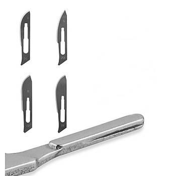 10 adet 21 # Karbon Çelik Steril Cerrahi Neþter Býçaðý + 1 adet 4 # Neþter Sap