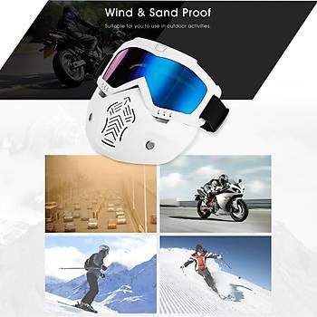 Gözlüklü Motosiklet Maskesi Anti-Uv Rüzgar Geçirmez BOLLFO MT-01