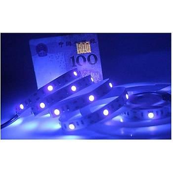 UV 395-410nm 5050 SMD Çip Led Esnek Þerit Iþýk Kesilebilir 15 Led DC 5V USB Soketli Kablo