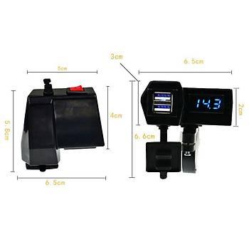 Motosiklet Gidonu Led Dijital Ekran Þarj Soketi Voltmetre Adaptörü Çift USB 3.1A
