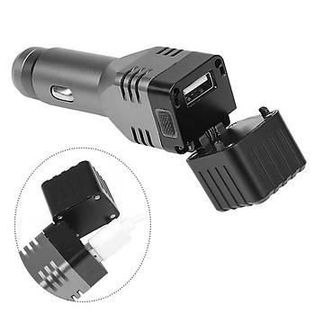 Araç USB Þarjlý Taktik El Feneri COB LED Dahili Batarya Cam Çekiç