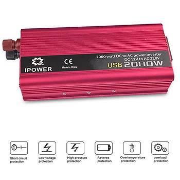 Çift USB 2000W 12V to 220V Güç Ýnvertörü Þarj Dönüþtürücü Adaptör