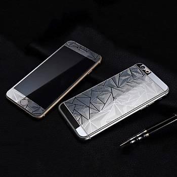 iPhone 6 6S Ýçin Ön/Arka Mirror Aynalý 3D Ekran Koruyucu Tamperli Cam Gümüþ Renk