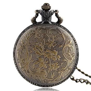 Klasik Kuvars Köstekli Cep Saati Bronz Antika Kolye Zincirli Hagia Sophia Desenli