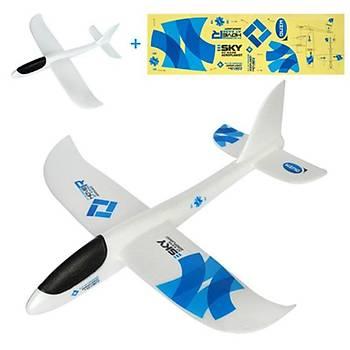 Planör Uçak 48cm EPP Silikonlu Köpük Elden Fýrlatma Blue Storm