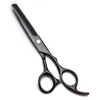 16 cm Paslanmaz Çelik Siyah Renk Saç Kesim Makas Set Düz makas ve 28 Diþ Makas