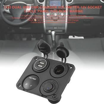 Araç 4 Yuva 12V Soket Panel Þarj Çakmak Çift USB LED Dijital Voltmetre