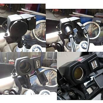 Motosiklet Çakmaklýk+USB Þarj Soketi Su Geçirmez