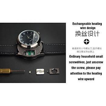 Çakmak Kuvars Saat Tungsten Alevsiz USB ?arj Romen Beyaz Kadran G