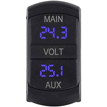 10-60 V Çift Voltmetre Gerilim Monitör Pikap RV Kamyon Motor Ýçin Mavi Led Dijital Panel