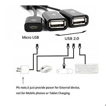 Micro USB çoklayýcý hub - 2 x OTG kablo adaptörü