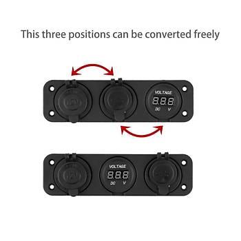 Araç Çakmak Soket + Dijital Voltmetre + 12V Çift USB Adaptörü 3 in 1